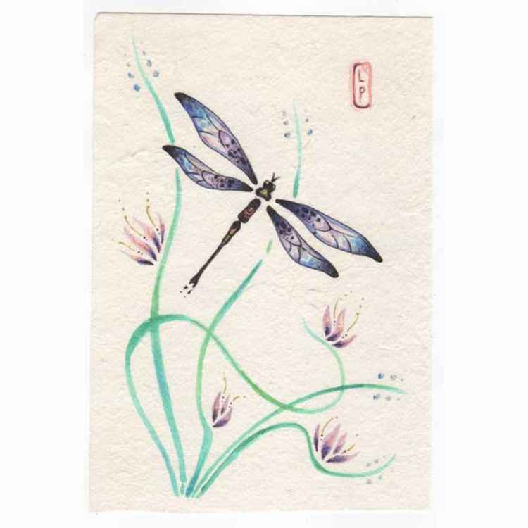 Dragonfly with lillies original watercolor painting