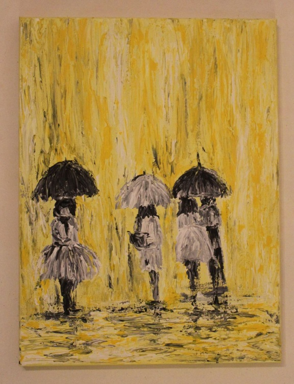 Yellow Rain-Impressionistic Rainy Day Series-Acrylic on Canvas, Ready to Hang - Image 0