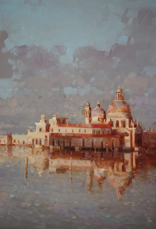 Santa Maria DellaSalute, Venice, Original oil painting  Handmade artwork One of a kind Large Size - Image 0