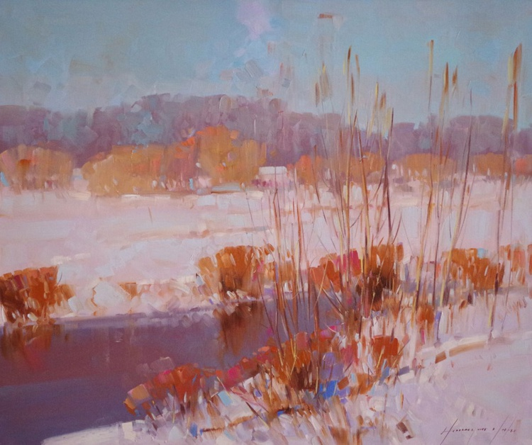 Landscape Oil painting, Winter, One of a kind, Signed with Certificate of Authenticity - Image 0