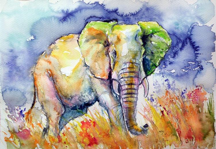 Elephant on the field II - Image 0