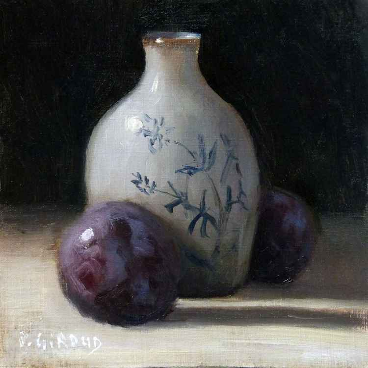 Plums and Porcelain Vase -