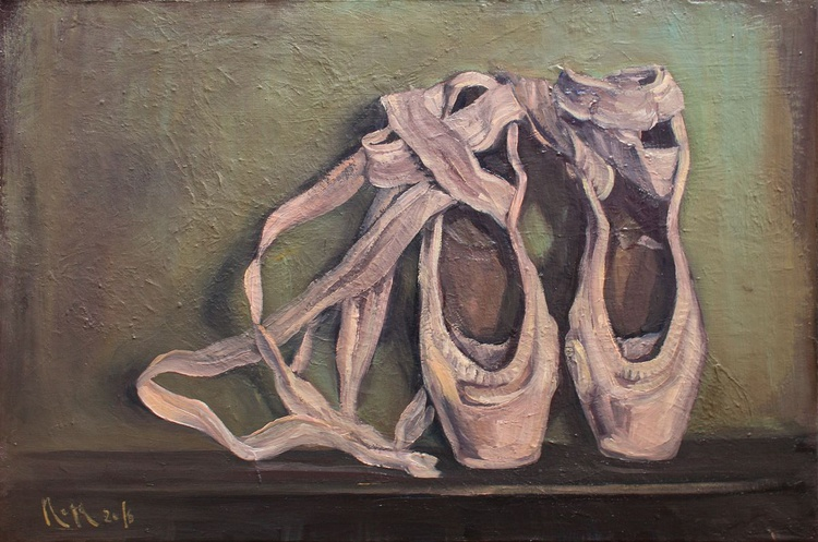 Anna's pointe shoes / 60 × 40 × 2 cm / READY TO HANG! - Image 0