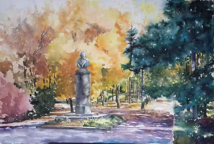 Chuguev, a monument to Ilya Repin -