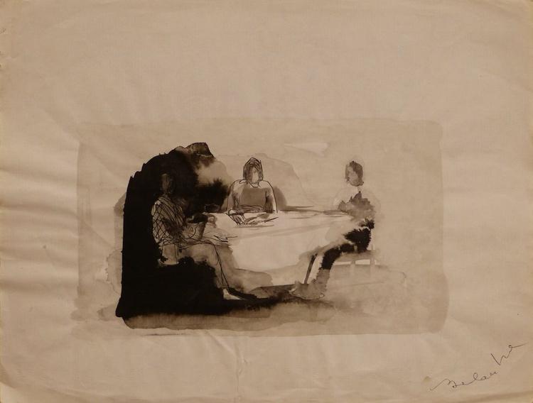 Three around the table, 32x24 cm - Image 0