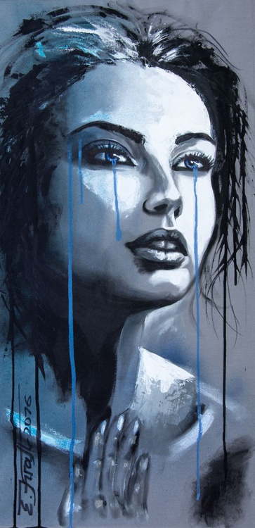 """Please believe me"",Original acrylic painting on canvas 45x90 x2cm - Image 0"