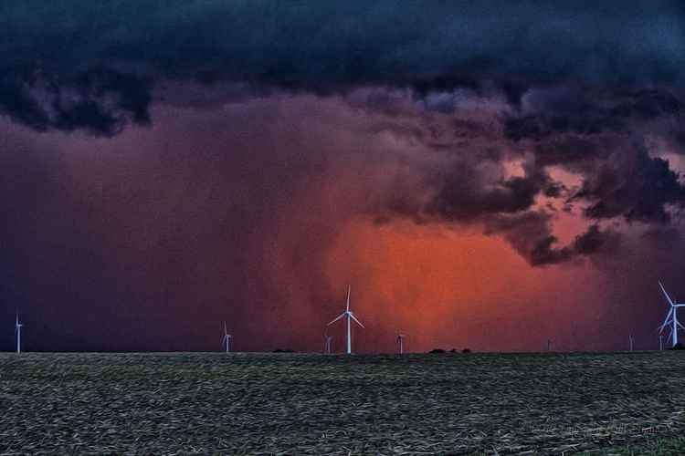 Sunset Storms at a Prairie Wind Farm -