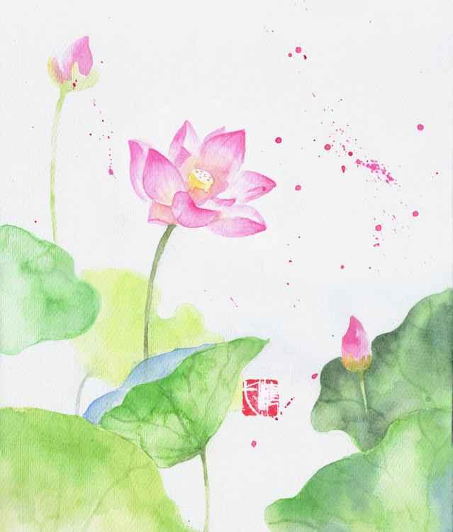 pink lotus watercolor