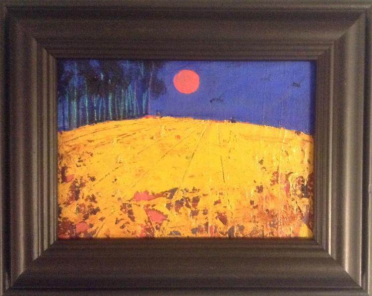 The Red  Harvest Moon  ( framed original) - Image 0