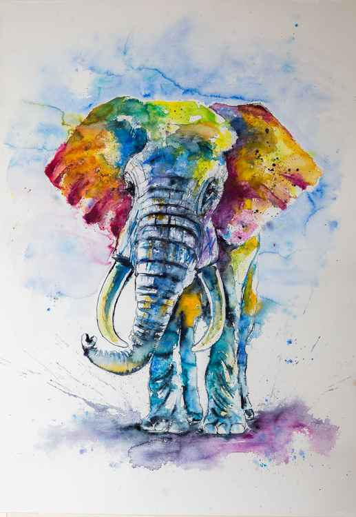 Big colorful elephant I (100 x 70cm) -
