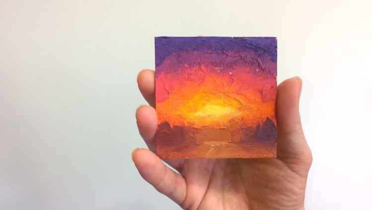 Miniature Original Sunrise/Sunset painting by Karen Whitworth -