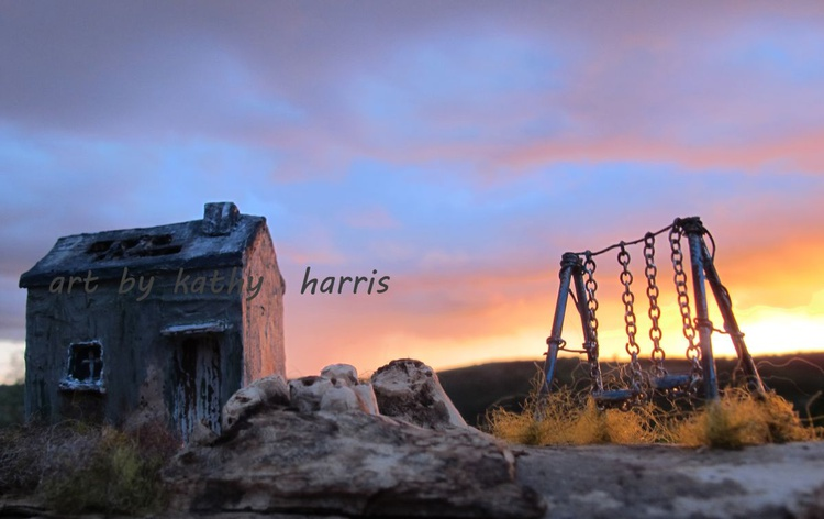 Sculpture art photo of derelict house with swing (sun down) - Image 0