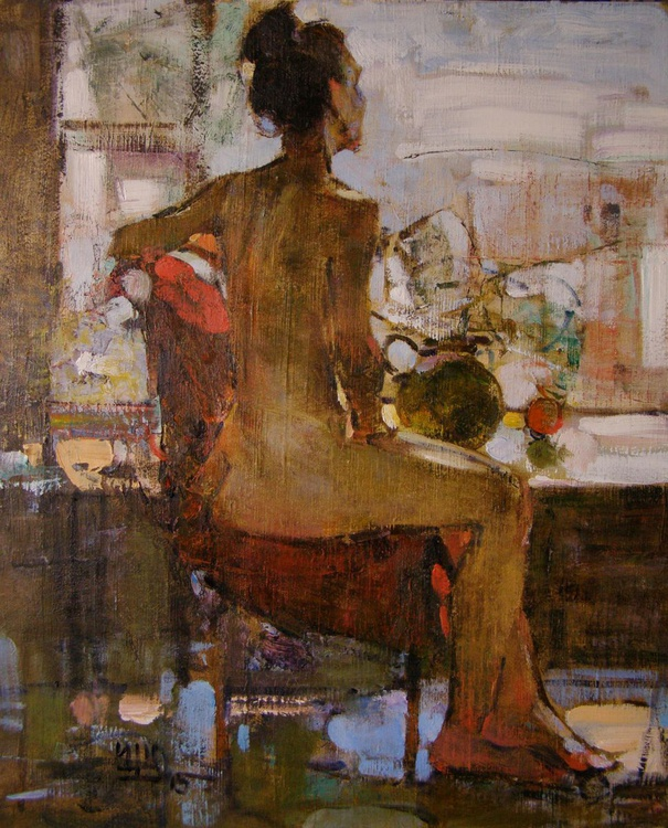 The Nude Model in Art Studio. oil on canvas. 75x85cm. - Image 0