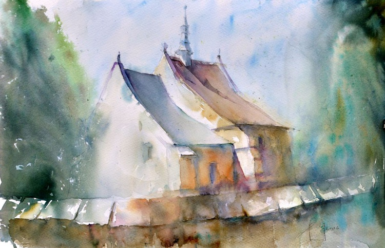 THE HOUSE BEHIND THE FENCE original watercolour 55x36 - Image 0