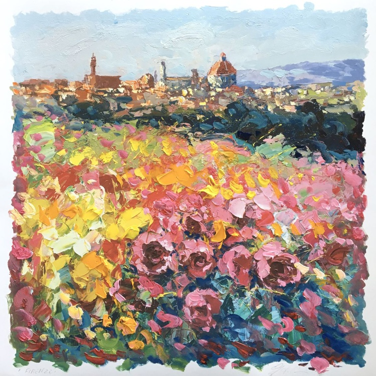 Florence Italy Art Cityscape Wall Art Impressionist Landscape Art Florence View Bedroom Decor Gifts for Her Best Friend Gifts For Mother Christmas Gifts - Image 0