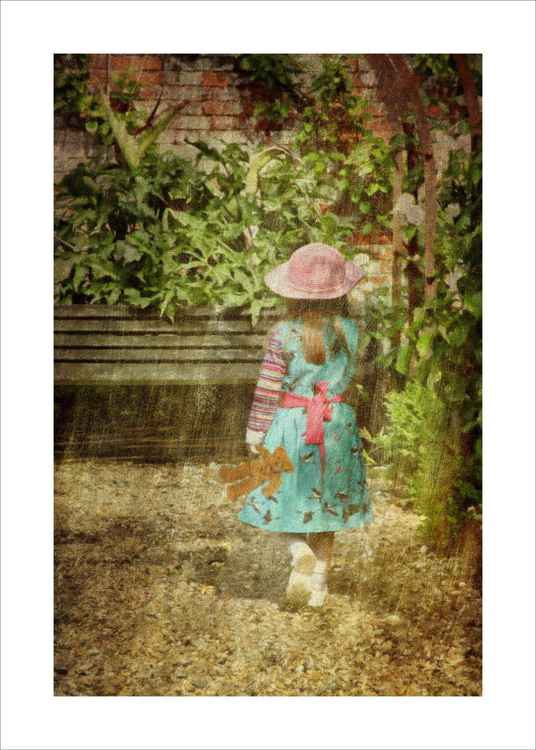 Girl & Teddy in the Garden -