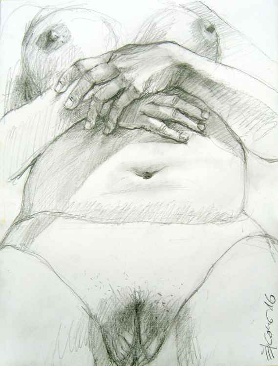 Nude study with resting hands -
