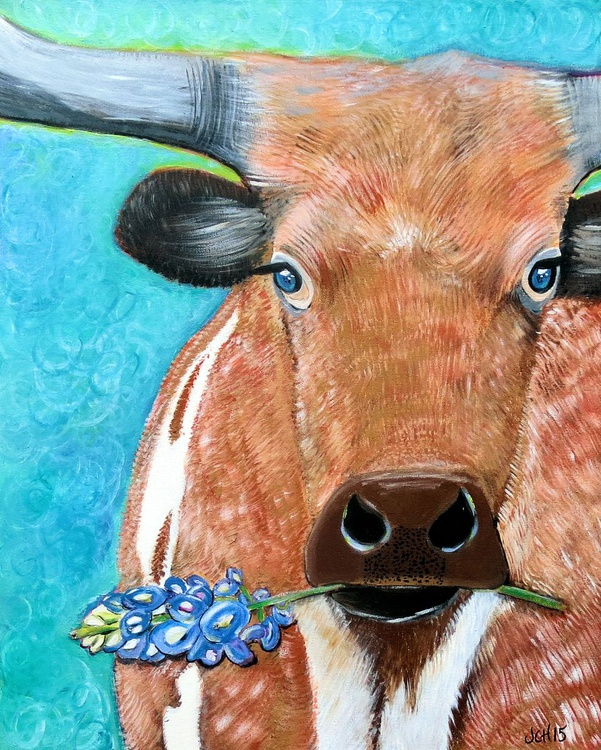 Texas Longhorn with Bluebonnet - Image 0