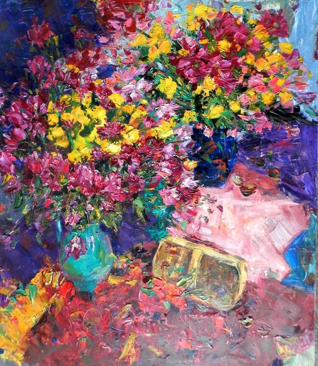 Autumn still life with a basket, large oil painting, 82x95.5 cm - Image 0