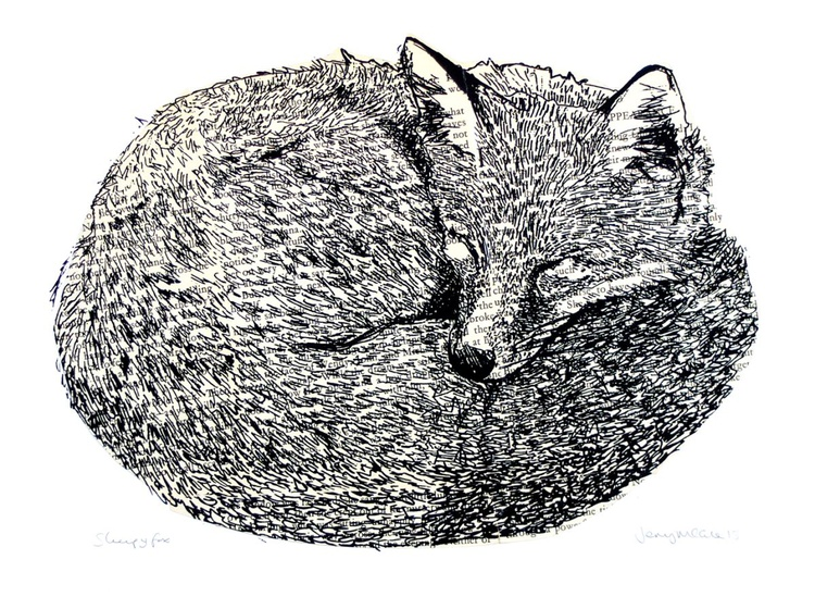 Sleepy fox screenprint with vintage book pages - Image 0