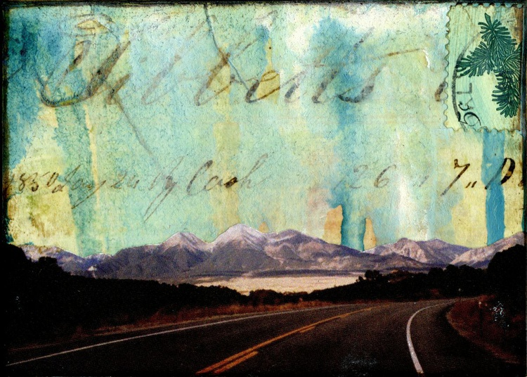 Road to the Mountains, Mixed Media Miniature Art - Image 0