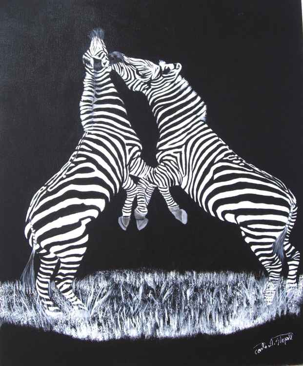Zebras in Black and White - Original Oil Painting -