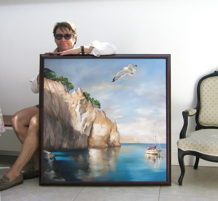 The Cliff of Samos, 40x40 inches LARGE 100 x 100 cm - Image 0