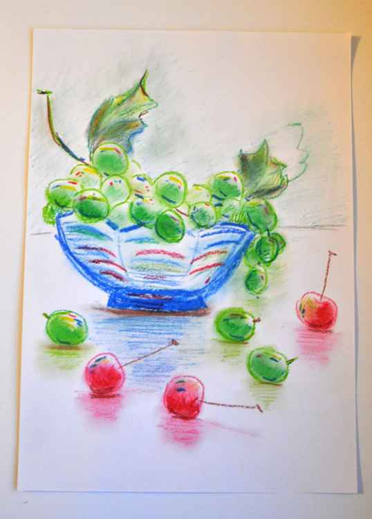 Still life with grapes and cherries -