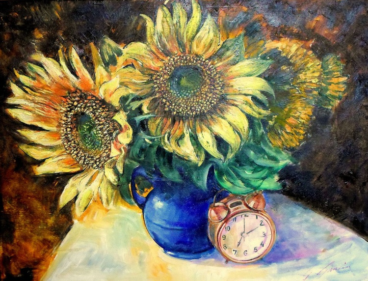Vincent Flowers with Clock - Image 0