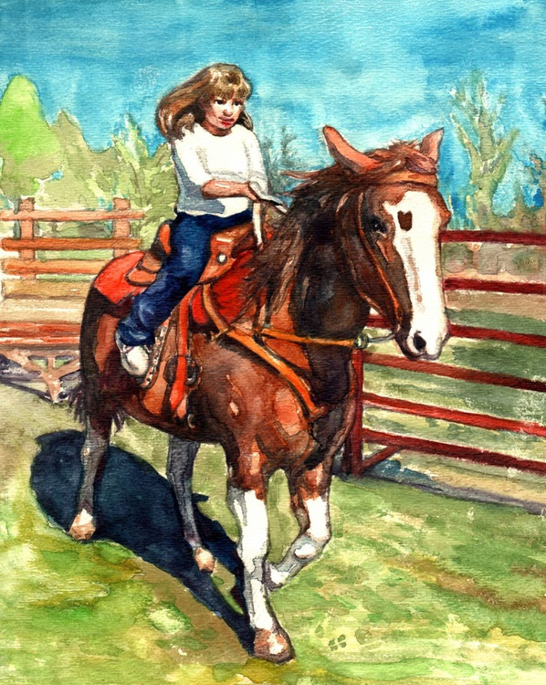 A girl on the horse - Image 0