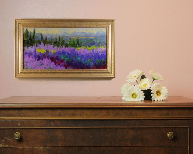 Mountainside Lavender Adagio - abstracted plein air lavender evening - Image 0