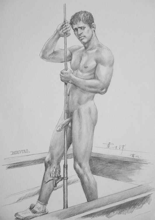original art drawing charcoal  male nude in boat on paper #16-8-27 -