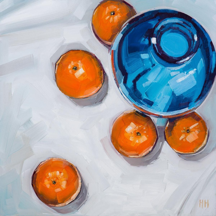 Four Oranges + Blue vase - Image 0