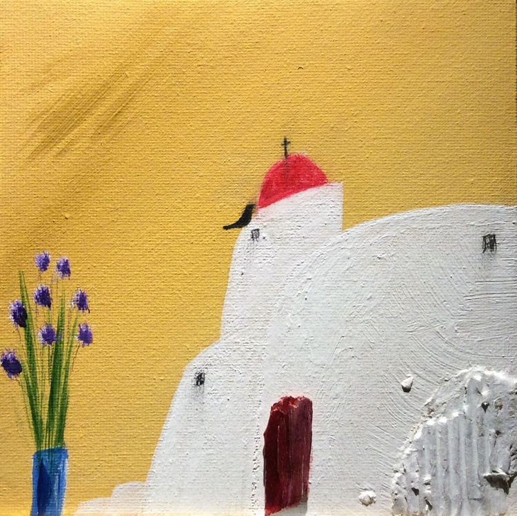 """"""" bird and a red dome """" ( miniature size) - Image 0"""