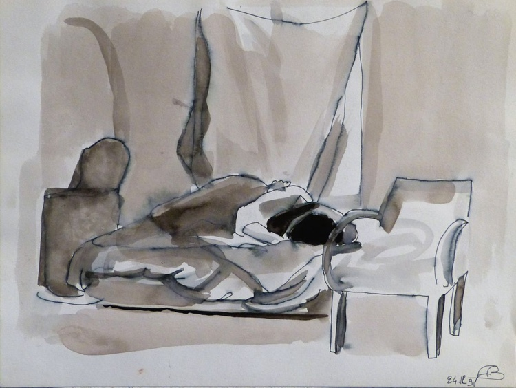 Woman in Bed 2, 24x32 cm - Image 0