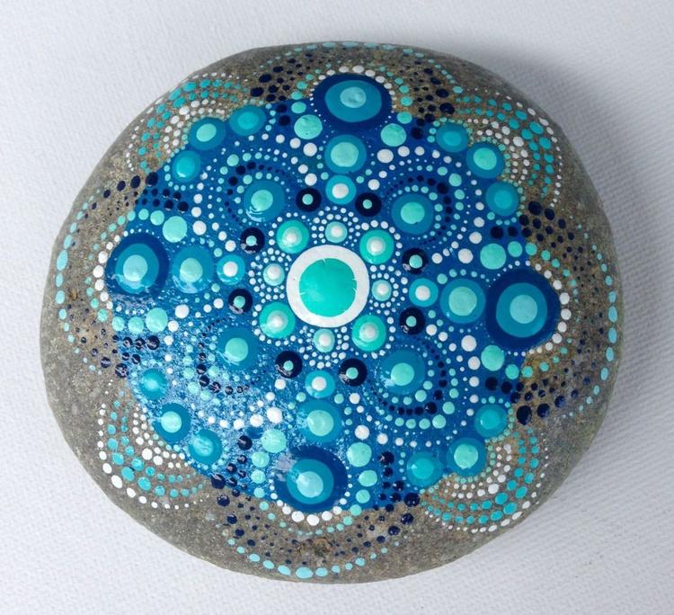 Big Blue Mandala on Natural Stone - Dotart style - Image 0