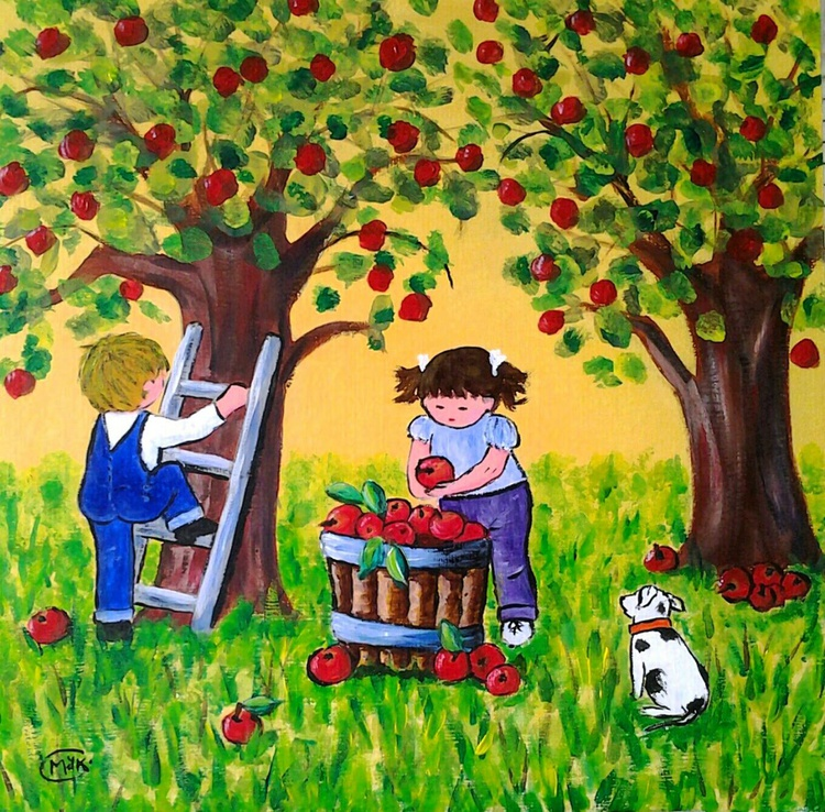 APPLE HARVEST, 30x30x0.3cm, acrylic - Image 0