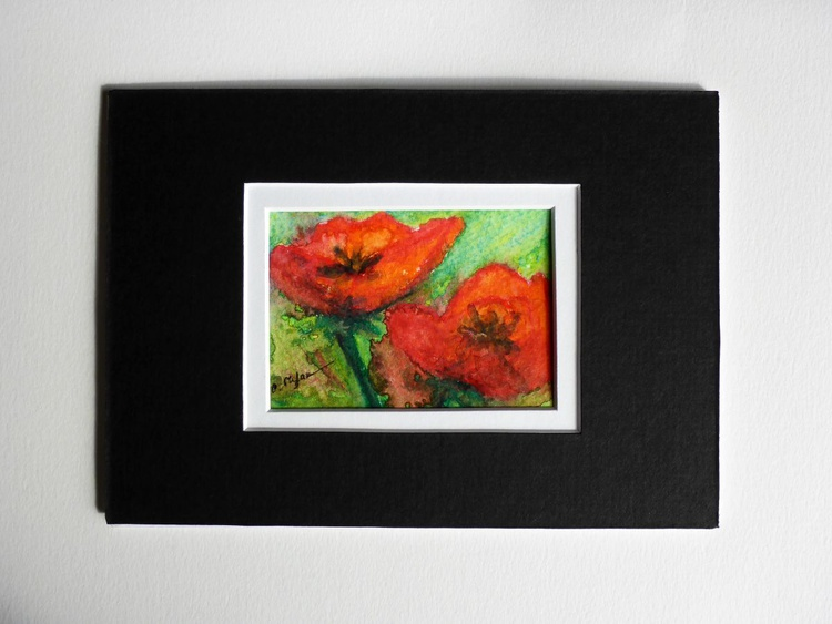 Poppies (ACEO with Mat) - Image 0