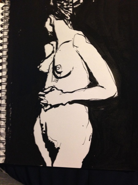 Female nude ink drawing - Image 0