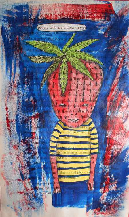 Creepy Strawberry Boy Original Watercolor Painting -