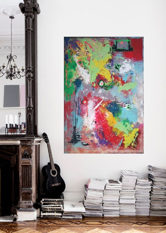 """45''x31""""( 115x80cm), Chios Island landscape, abstract painting , wall decor by Veronica Vilsan - Image 0"""