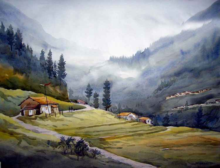 Beauty of Himalaya-Watercolor on paper