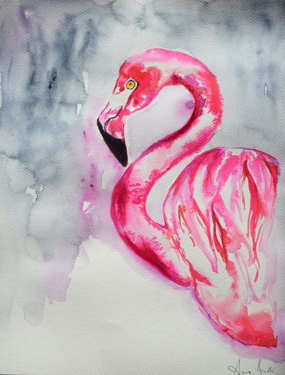 Portrait of Flamingo/ Watercolour - Image 0