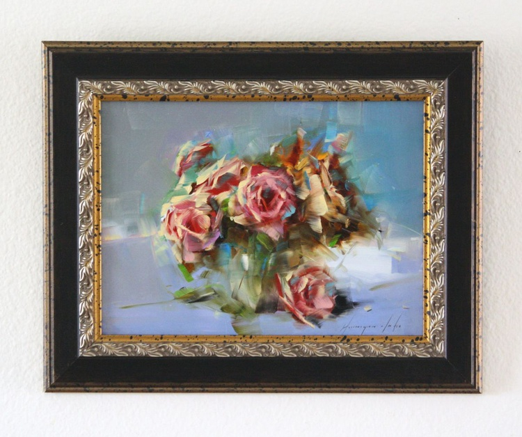 Roses in Cobalt Handmade oil Painting Framed One of a Kind - Image 0