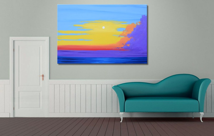 landscape large wall art original abstract sunset sunrise painting art canvas - 24 x 36 x 1.5  inches - Image 0