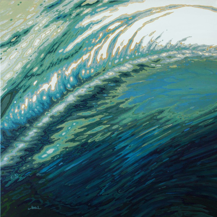 Moroccan Tide- Peacock toned Ocean Wave Reflections 36 x 36 Gallery Wrapped - Image 0
