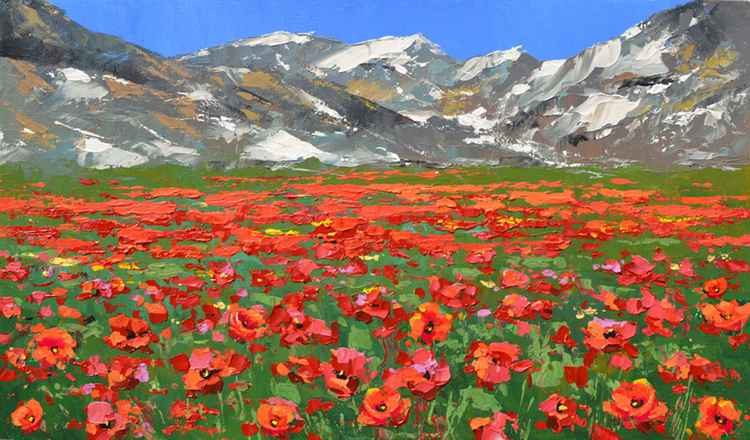 Mountain poppies - Acrylic palette knife Painting by Dmitry Spiros,  Size: 32cm x 54cm
