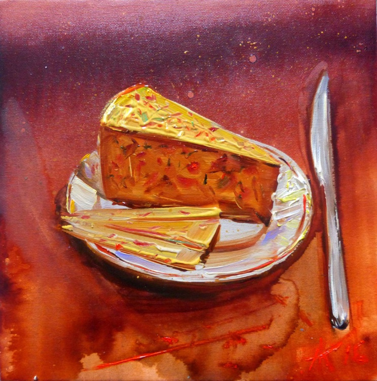 smoked cheese, oil painting 30x30 cm - Image 0