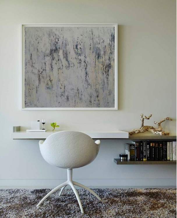 White Abstract painting A warm spring after cold, 80×80 cm, original artwork, FREE SHIPPING - Image 0