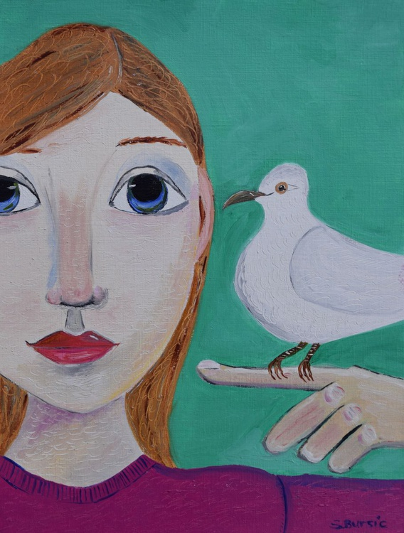 Girl with Dove - Image 0